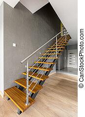 intérieur, maison, conception, escalier