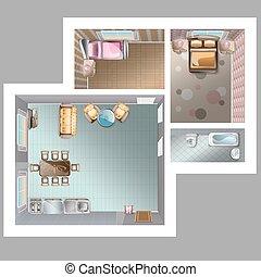 intérieur, maison, conception, illustration.