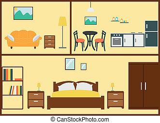 intérieur, maison, conception