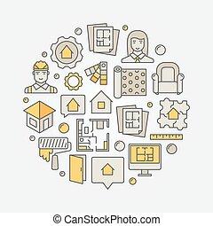 intérieur, maison, conception, rond, illustration