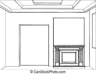 intérieur, maison, croquis, moderne, cheminée