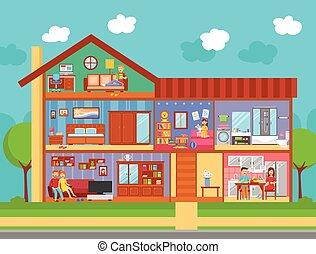 intérieur, maison famille, conception, concept