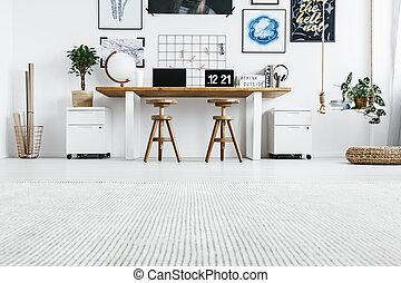 intérieur, maison, hipster, bureau