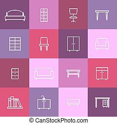 intérieur maison, icônes