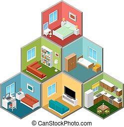 intérieur, maison, isométrique, 3d, plat