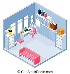 intérieur, maison, isométrique, bureau