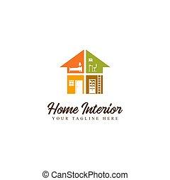 intérieur, maison, logo