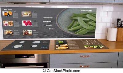 intérieur, maison, moderne, cuisine