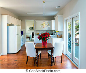 intérieur, maison, moderne, manger, cuisine