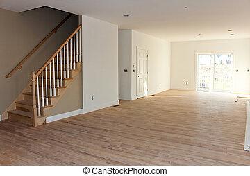 intérieur, maison, récemment, construit