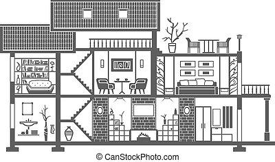 intérieur, maison, silhouette
