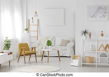 intérieur, meublé, confortable, chambre à coucher