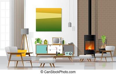intérieur, meubles, moderne, 1, cheminée, retro, salle, vivant, fond, style