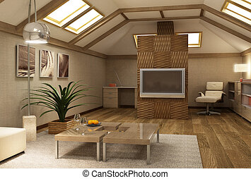 intérieur, mezzanine, rmodern, 3d