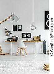 intérieur, minimaliste, blanc, moderne, bureau