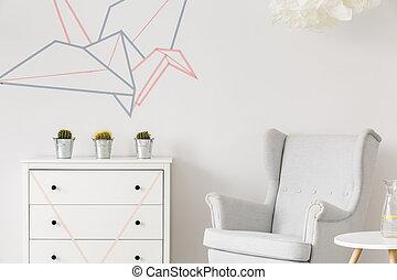 intérieur, minimaliste, blanc