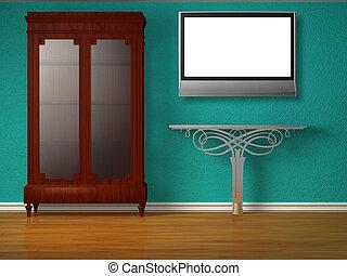 intérieur, minimaliste, placard, table, métallique