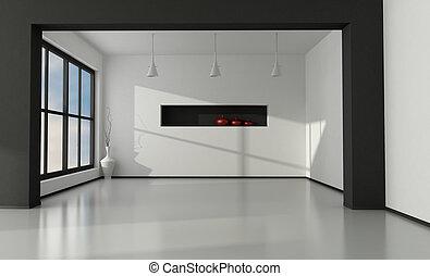 intérieur, minimaliste, vide