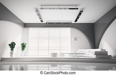 intérieur, moderne, 3d, blanc