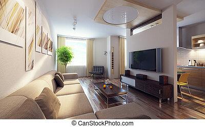 intérieur, moderne, 3d