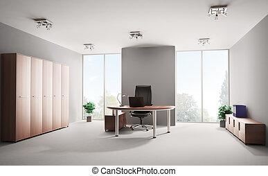 intérieur, moderne, bureau, 3d