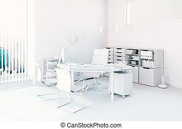 intérieur, moderne, bureau, render, 3d