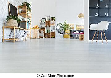 intérieur, moderne, caisse, meubles