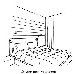 int rieur moderne dessin chambre coucher moderne illustration vecteurs rechercher. Black Bedroom Furniture Sets. Home Design Ideas