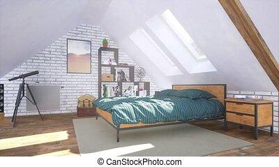 intérieur, moderne, chambre à coucher, confortable, grenier, 3d