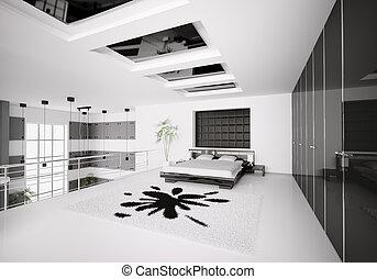 intérieur, moderne, chambre à coucher, 3d