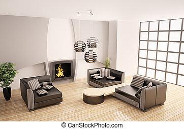 intérieur, moderne, cheminée, 3d