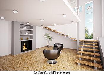 intérieur, moderne, cheminée, render, 3d