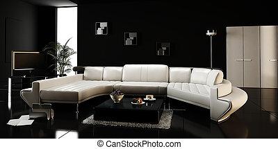 intérieur, moderne, conception, render, 3d