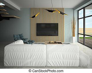 intérieur, moderne, conception, salle, 3d, illustration