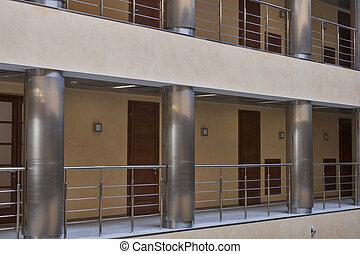 intérieur, moderne, couloir