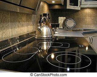 intérieur, moderne, cuisine