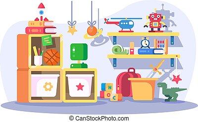 intérieur, moderne, enfants, salle, jouets