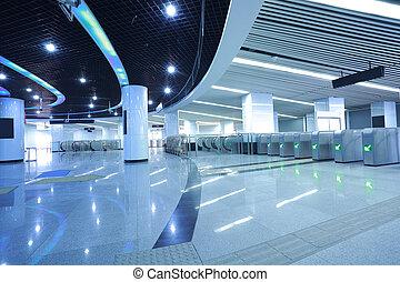 intérieur, moderne, métro, architectural