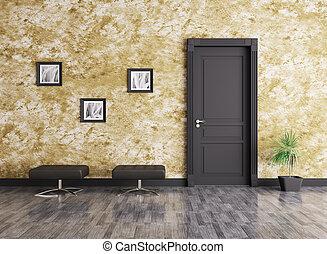 intérieur, moderne, porte