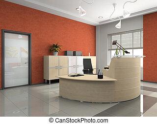intérieur, moderne, réception, bureau