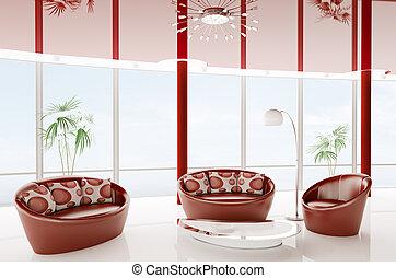 intérieur, moderne, render, 3d