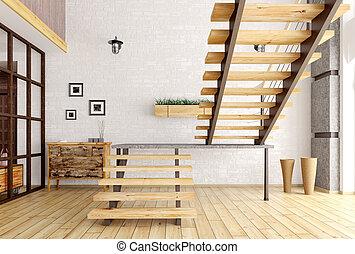 intérieur, moderne, render, escalier, 3d