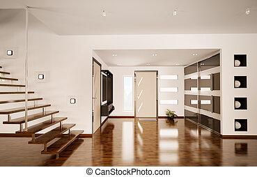 intérieur, moderne, salle, render, 3d