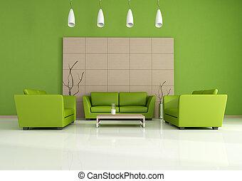 intérieur, moderne, vert