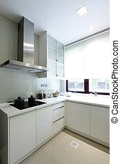 intérieur, moderne, vue cuisine