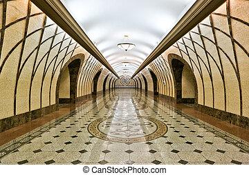 intérieur, moderne, walkway