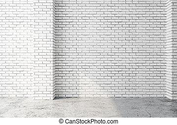 intérieur, mur, blanc, vide