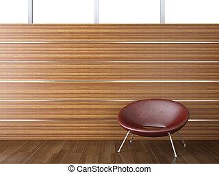intérieur, mur, bois, conception