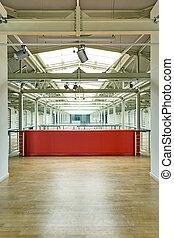 intérieur, mur, industriel, rouges