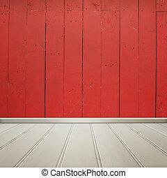 intérieur, mur, plancher bois, texture, arrière-plan., rouges, salle, blanc
